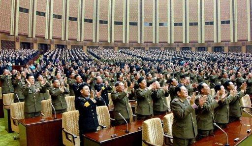 This file photo, released from North Korea's official Korean Central News Agency in 2009, shows members of parliament during a session at the Mansudae Assembly Hall in Pyongyang. N.Korea said on Saturday it would hold an annual parliamentary session next month around the time of a planned rocket launch by the nuclear-armed state that has sparked widespread condemnation