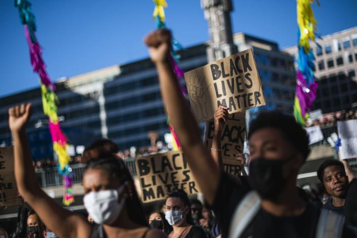 """<div class=""""inline-image__caption""""><p>Protesters raise their fists during a Black Lives Matter demonstration in Stockholm, Sweden, on June 3, 2020 over the death of George Floyd. </p></div> <div class=""""inline-image__credit"""">JONATHAN NACKSTRAND/AFP via Getty Images</div>"""