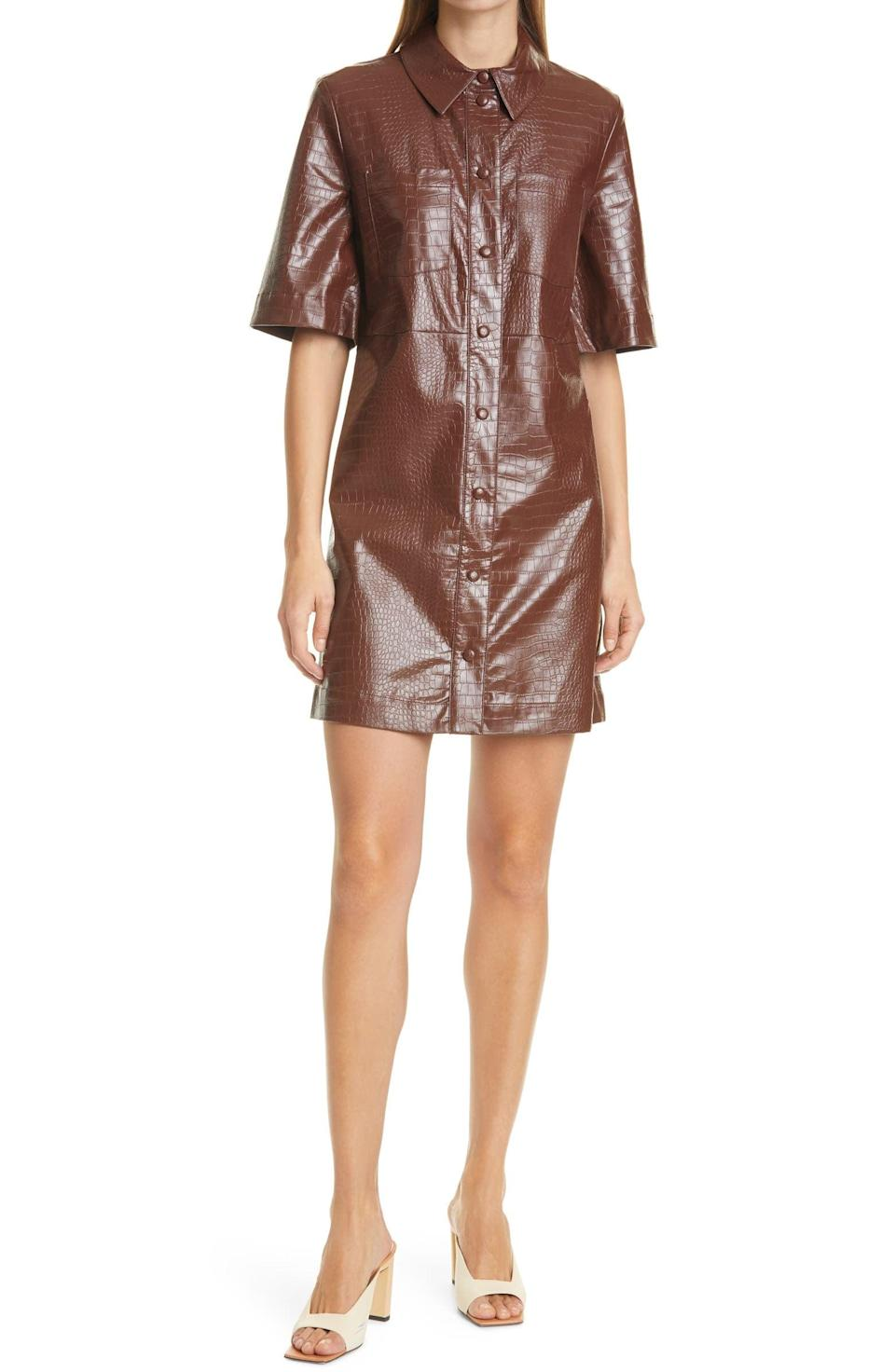 <p>Colorful leather started trending last year, and it's not going anywhere. Go ahead and experiment with it by opting for this <span>Samsoe Samsoe Myla Faux Leather Short Sleeve Shirtdress</span> ($113, originally $270).</p>
