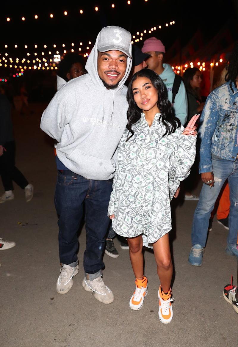 Chance The Rapper and Jhene Aiko attends The Levi's Brand Presents NEON CARNIVAL with Tequila Don Julio on April 14, 2018 in Thermal, California. (Photo by Joe Scarnici/WireImage)