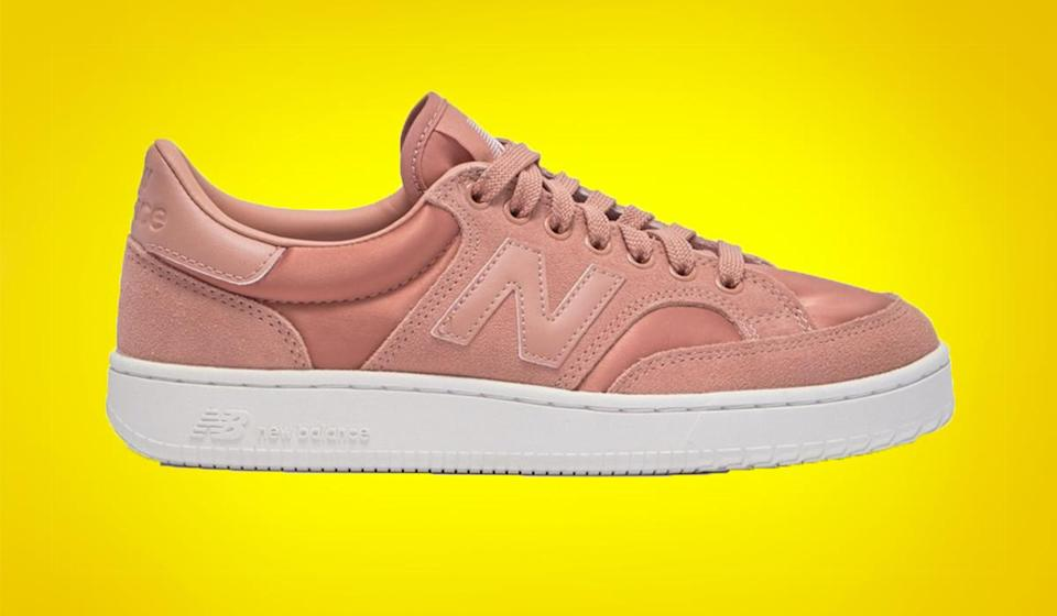 Satin-like fabric gives these sporty kicks a luxe touch. (Photo: New Balance)
