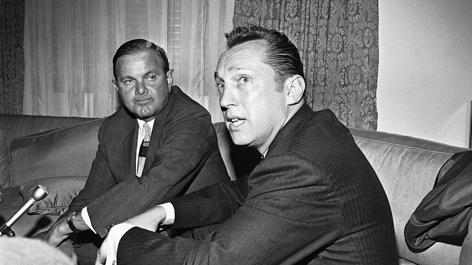 Mandatory Credit: Photo by Ed Kolenovsky/AP/Shutterstock (5991726a)Al Davis, right, the head coach-general manager of the Oakland Raiders, was named today as the new American Football League Commissioner to succeed Joe Foss, who resigns, in Houston.