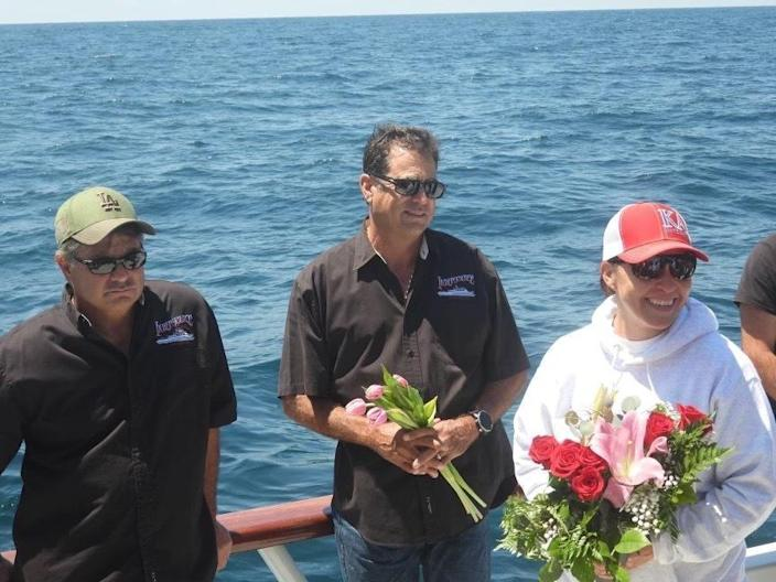 Desiree Rodriguez returned to site she was found in with charter boat Captains Paul Strasser and Mark Pisano 35 years later. / Credit: Phil Friedman