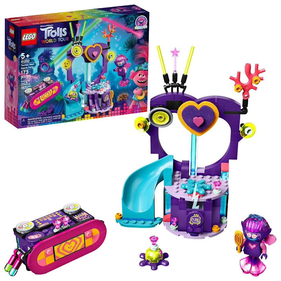 <p>The <span>Lego Trolls World Tour Techno Reef Dance Party Set</span> ($17) has 173 pieces and is best suited for kids ages 5 and up.</p>