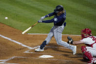 Seattle Mariners designated hitter Jake Fraley (28) hits a grand slam home run during the fourth inning of a baseball game against the Los Angeles Angels Saturday, June 5, 2021, in Anaheim, Calif. Mitch Haniger, Ty France, and Taylor Trammell also scored. (AP Photo/Ashley Landis)