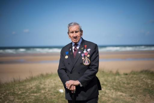 World War II veteran Charles Shay, a Penobscot Indian who took part in the D-Day landings at Normandy on June 6, 1944, on Omaha Beach in western France
