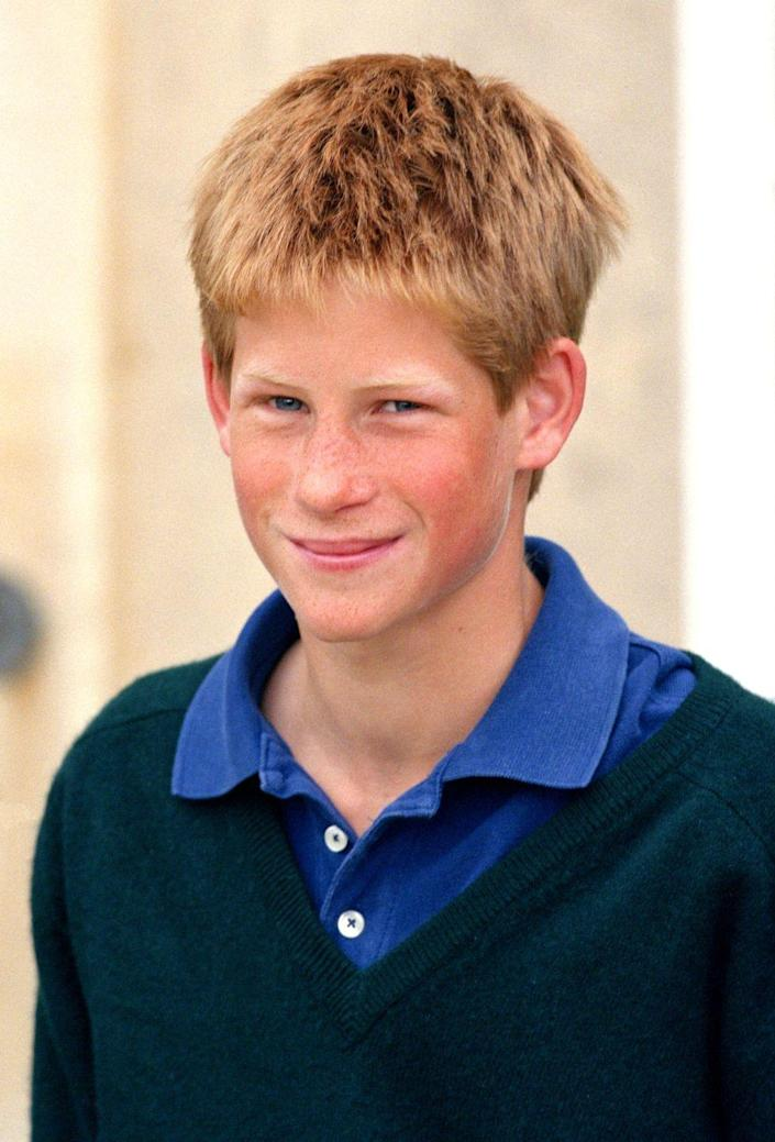 <p>A casual-looking Harry smiles for cameras as the royal family celebrates brother William's successful driving test at Highgrove, their father's home in Gloucestershire. Harry would pass his own driving test three years later. </p>