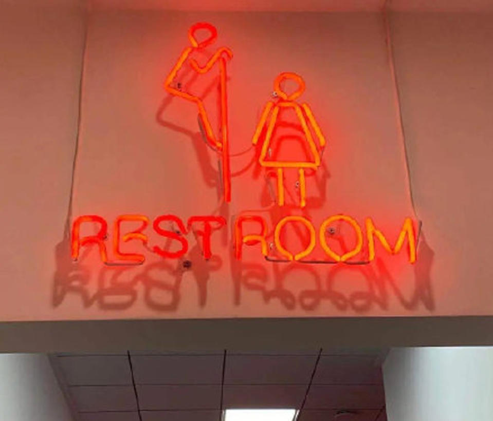 The restroom sign has caused anger online. Source: Weibo