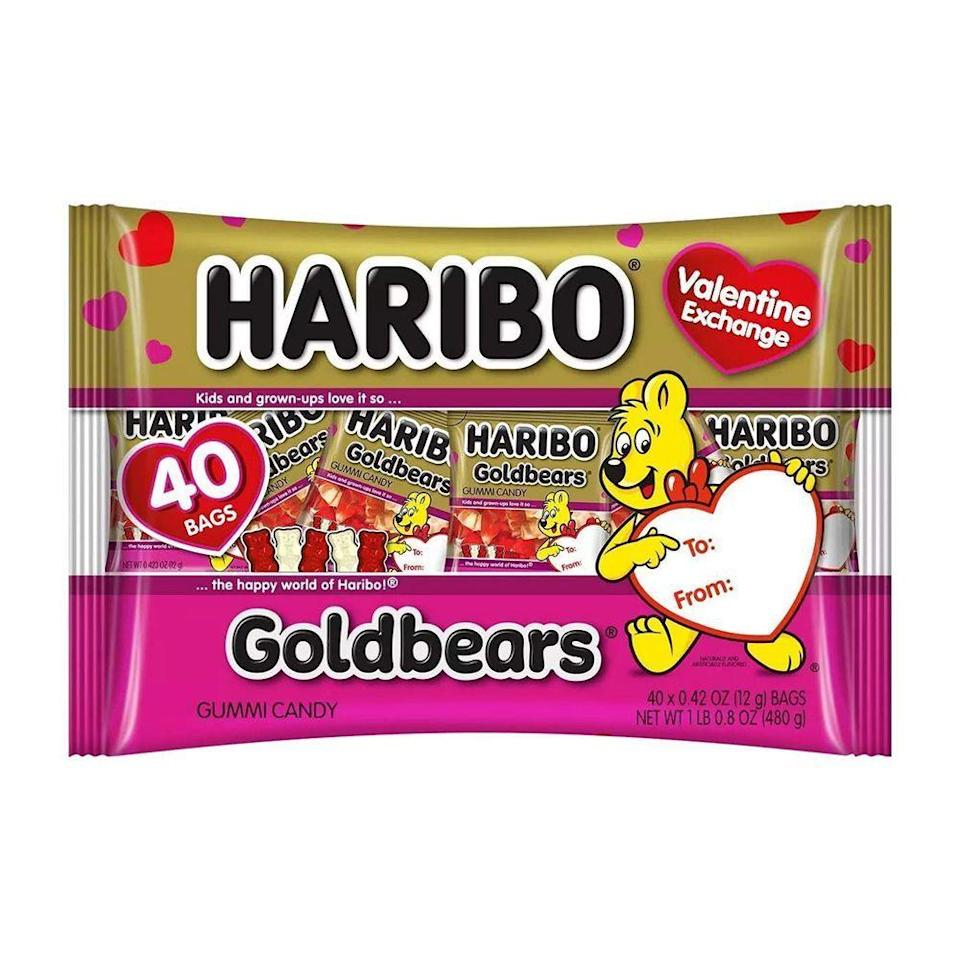 """<p><strong>Haribo</strong></p><p>amazon.com</p><p><strong>$13.00</strong></p><p><a href=""""https://www.amazon.com/dp/B083STWWG2?tag=syn-yahoo-20&ascsubtag=%5Bartid%7C2089.g.904%5Bsrc%7Cyahoo-us"""" rel=""""nofollow noopener"""" target=""""_blank"""" data-ylk=""""slk:Shop Now"""" class=""""link rapid-noclick-resp"""">Shop Now</a></p><p>Everyone loves Haribo Goldbears, and these Valentine's Exchange mini packs are just too cute to pass up. They're the perfect serving size for snacking at home or stashing in your bag.</p>"""
