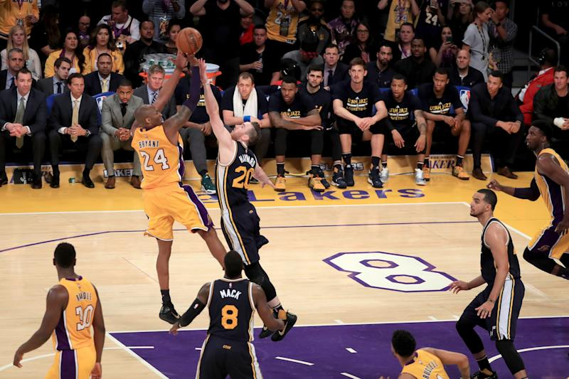 Gordon Hayward says his best defense was not enough to stop a 37-year-old Kobe Bryant from scoring 60. (Sean M. Haffey/Getty Images)