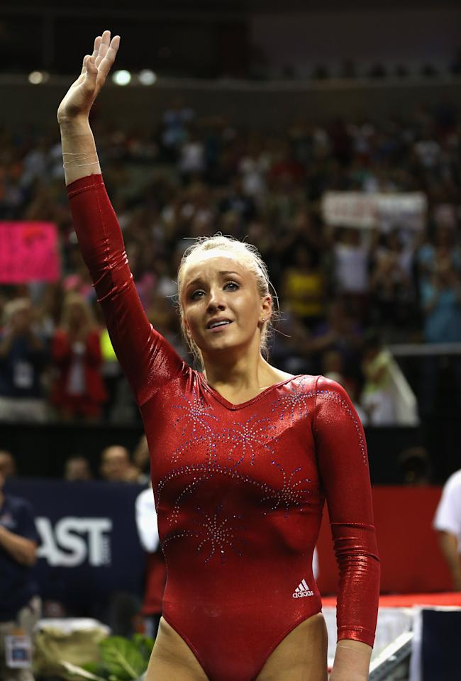 SAN JOSE, CA - JULY 01:  Nastia Liukin waves to the crowd after competing on the beam during day 4 of the 2012 U.S. Olympic Gymnastics Team Trials at HP Pavilion on July 1, 2012 in San Jose, California.  (Photo by Ezra Shaw/Getty Images)