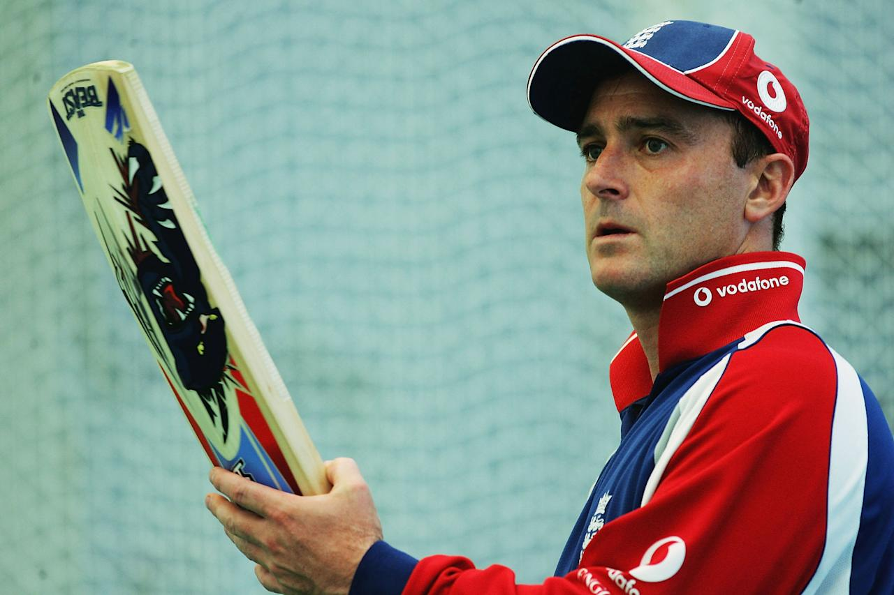 CHESTER-LE-STREET, ENGLAND - JUNE 1:  Graham Thorpe of England looks on during the England nets session prior to the 2nd Npower Test match between England and Bangladesh at the Riverside Ground on June 1, 2005 in Chester-le-Street, England. (Photo by Tom Shaw/Getty Images)