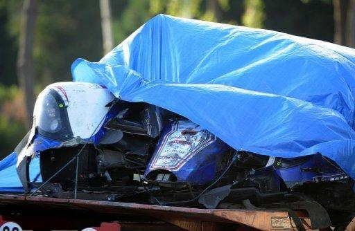 A Toyota driven by British Antony Davidson is pictured after a crash