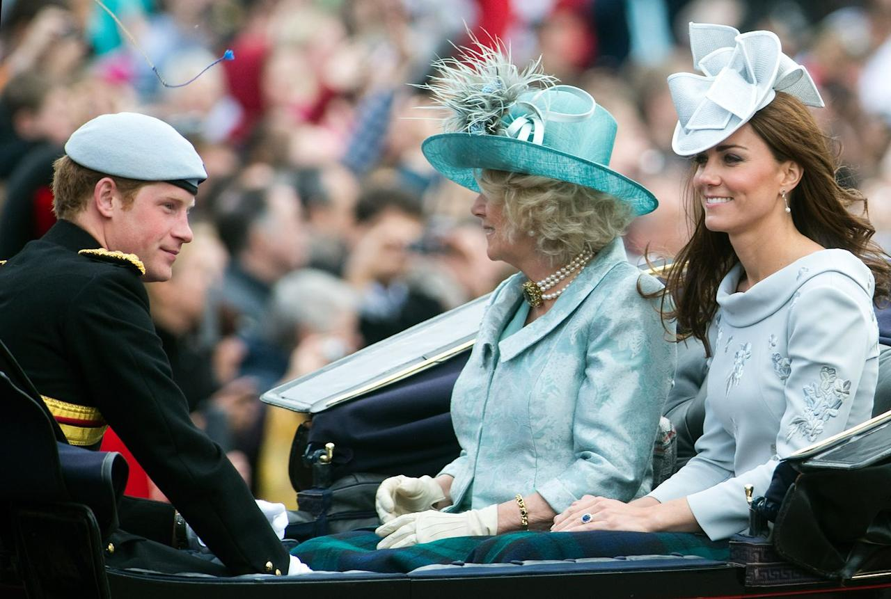 <p>Harry, Camilla, and Kate rode in the same carriage together for the Duchess of Cambridge's second Trooping the Colour appearance. She and her mother-in-law matched in blue.</p>