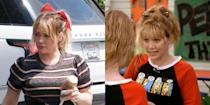 "<p>If you grew up watching Disney Channel in the early 2000s, Hilary Duff's latest haircut may look familiar. That's because it was totally inspired by her iconic character, Lizzie McGuire! The actress told <em><a href=""https://www.refinery29.com/en-us/2019/06/236368/hilary-duff-lizzie-mcguire-bangs-hair-cut-2019"" rel=""nofollow noopener"" target=""_blank"" data-ylk=""slk:Refinery 29"" class=""link rapid-noclick-resp"">Refinery 29</a></em> that she has been ""itching for [her] Lizzie McGuire bangs for awhile.""</p><p>In fact, Hilary says that Lizzie still continues to inspire her when it comes to hair. ""She had a wild time with her hair,"" she said. ""There were no rules. There were blue hair scrunchies and all kinds of crazy sh*t. There are some things like topknot buns and crimping... I feel like that could be a thing again.""<br></p>"