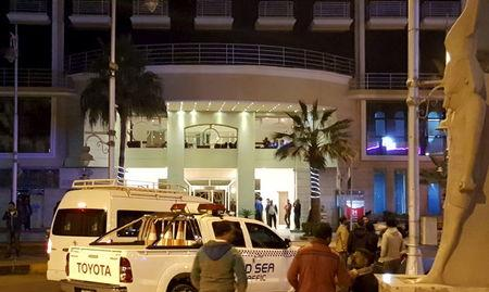Security is ramped up outside a hotel where two attackers opened fire in the Egyptian Red Sea resort town of Hurghada, Egypt, January 8, 2016. REUTERS/Stringer