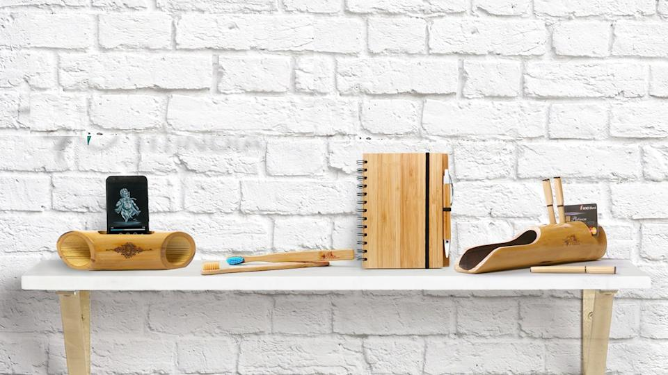 Bamboo India's range of products, from a Sound Amplifier to toothbrushes