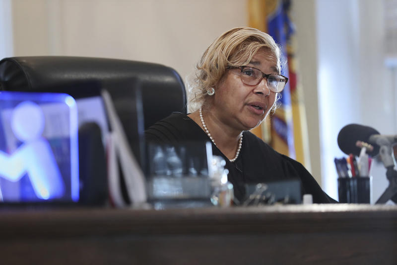 Judge Paula T. Dow addresses the lawyers during a hearing on missing funds in the Johnny Bobbitt case in the Olde Historic Courthouse in Mt. Holly NJ Wednesday Sept. 5 2018. Mc Clure and D'Amico are accused of mismanaging the money raised for Bobbi