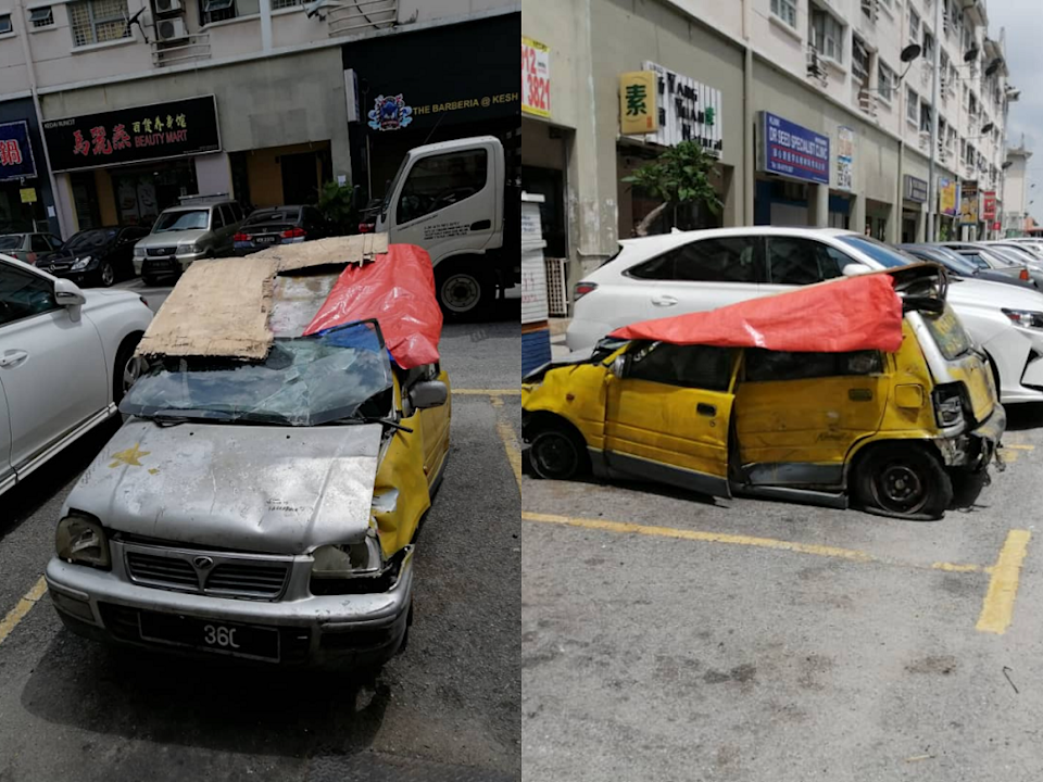 The infamous 'Kancil Buruk' has returned in a more critical condition with broken doors and flat tyres and has been spotted roaming around Kepong areas. ― Screenshot via Facebook/ Lim Lip Eng