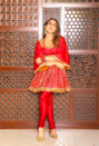 Known to be a forerunner in promoting Indianwear with her sartorial style, Sara wore a gorgeous red suit by Abu Jani and Sandeep Khosla. The short flared kurta with bell sleeves was a welcome change from the usual sea of anarkali kurtas and lehengas.