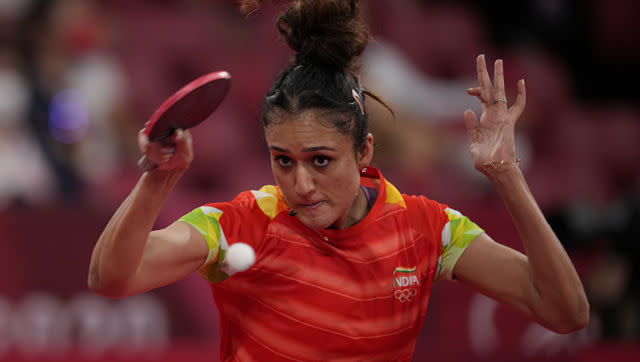 India's Manika Batra displayed nerves of steel against Ukrain's Margaryta Pesotska in the second round of the women's singles event as she came back from being 0-2 down to eventually win the match 4-3. AP