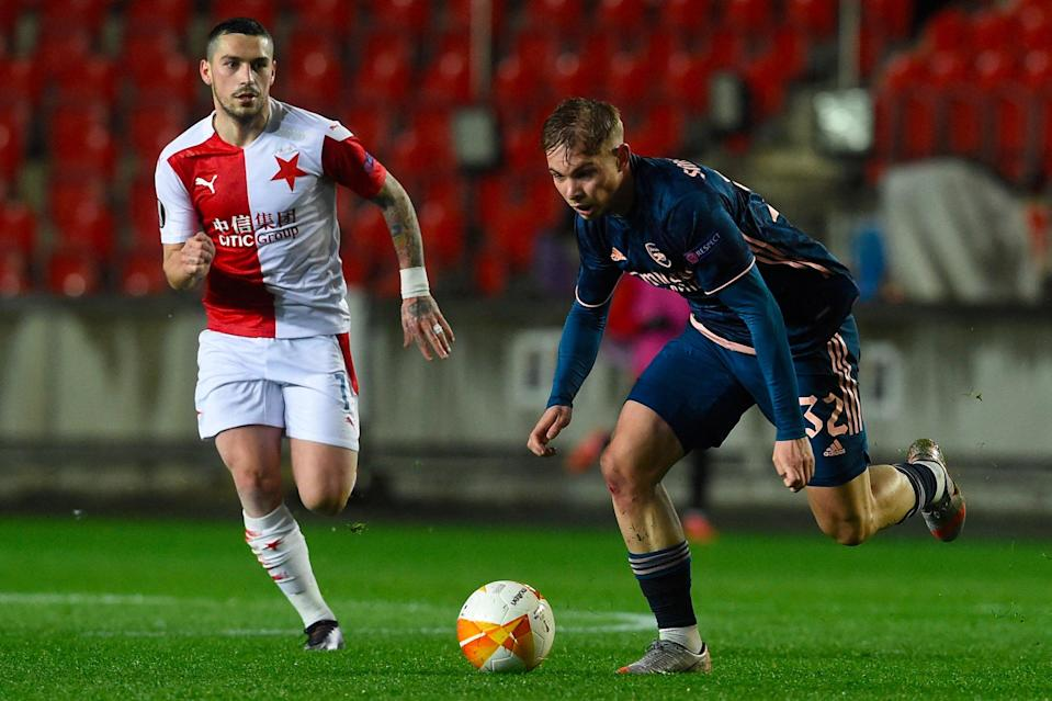 <p>Smith Rowe shone for the Gunners in Prague</p> (AFP via Getty Images)