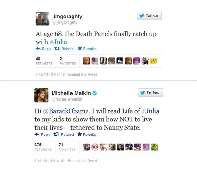 "In an early attempt to lock down female voters, the Obama campaign in May released a timeline of how the president's policy proposals would affect the life of a hypothetical woman named ""Julia.""   The conservative Heritage Foundation immediately offered its own 12-step walk through of Julia's life and commentators took to Twitter to mock the Obama campaign's take.   ""Whatever Julia's status as a composite character, or a beneficiary of munificent government handouts, or an infantilized Canadian type who can't do jack for herself, Julia is an intriguing cartoon character, as emblematic of her time as Dagwood or Doonesbury or Dilbert,"" wrote Virginia Heffernan."