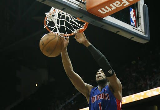 Detroit Pistons center Andre Drummond (1) scores against the Atlanta Hawks in the second half of an NBA basketball game on Wednesday, Dec. 26, 2012, in Atlanta. Atlanta won 126-119 in double overtime. (AP Photo/John Bazemore)