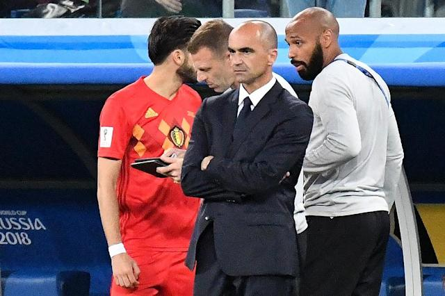 Belgium coach Roberto Martinez standing beside assistant Thierry Henry during his side's 1-0 defeat against France (AFP Photo/CHRISTOPHE SIMON)
