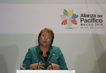 Chile's President Michelle Bachelet speaks after the signing of agreements at the second day of the 2014 Alianza del Pacifico (Pacific Alliance) political summit in Punta Mita
