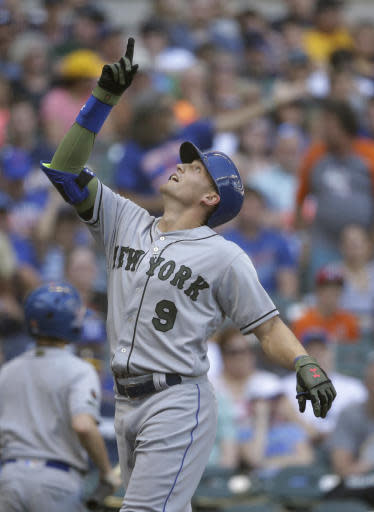 New York Mets' Brandon Nimmo reacts after hitting a home run against the Milwaukee Brewers during the second inning of a baseball game, Saturday, May 26, 2018, in Milwaukee. (AP Photo/Jeffrey Phelps)