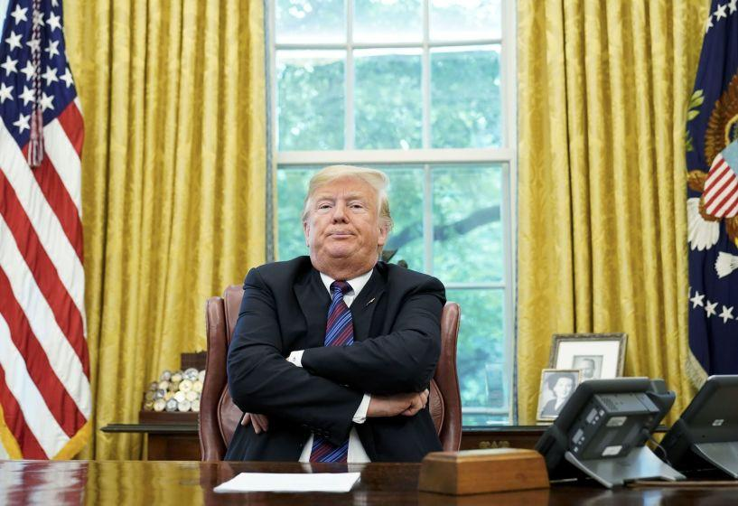 """(FILES) In this file photo taken on August 27, 2018 US President Donald Trump speaks to reporters after a phone conversation with Mexico's President Enrique Pena Nieto on trade in the Oval Office of the White House in Washington, DC. - US President Donald Trump claimed August 28, 2018 that Google results were """"rigged"""" because searches for """"Trump News"""" brought up negative stories about him, and questioned whether this was illegal. The president has attacked US social media giants in the past days for allegedly censoring conservative voices, an unfounded claim widely believed by his followers.""""Google search results for 'Trump News' shows only the viewing/reporting of Fake New Media,"""" the president tweeted on Tuesday. (Photo by MANDEL NGAN / AFP)MANDEL NGAN/AFP/Getty Images ** OUTS - ELSENT, FPG, CM - OUTS * NM, PH, VA if sourced by CT, LA or MoD **"""