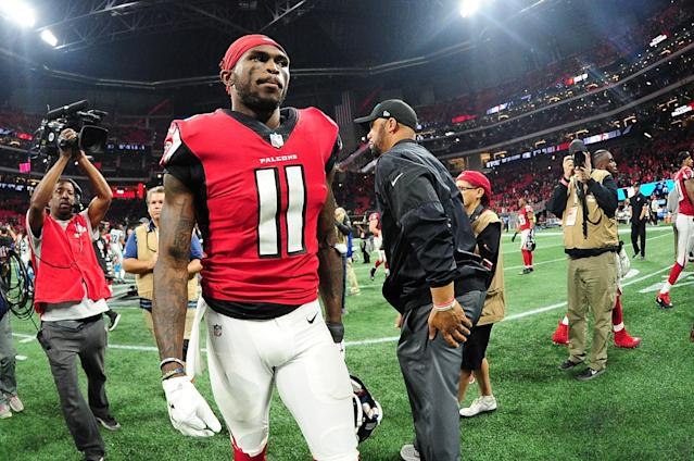 Julio Jones reportedly will not get a new deal before the season starts, something he has been gunning for throughout the offseason. (Getty Images)