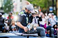 <p>Anna Farris and Chris Pratt's son, Jack, was suited up in a jacket, tie, and captain's hat for a car ride during the Seafair Torchlight Parade in downtown Seattle in 2016. How many kids do you that have been in a parade?</p>
