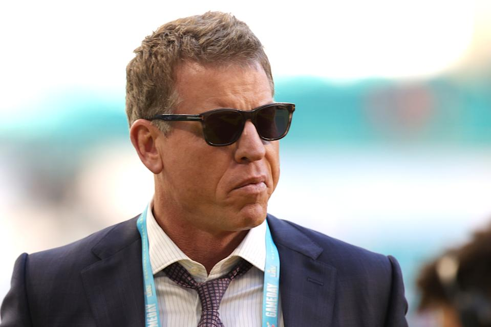 Former player Troy Aikman arrives at Super Bowl LIV at Hard Rock Stadium on February 02, 2020 in Miami, Florida. (Photo by Rob Carr/Getty Images)