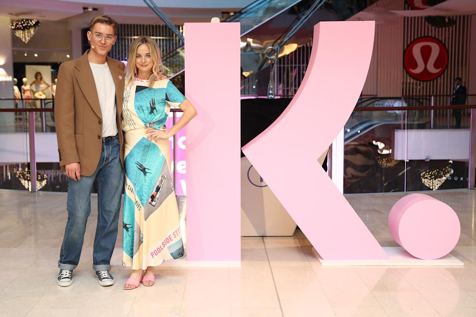 SYDNEY, AUSTRALIA - NOVEMBER 25: Elliott Garnaut and Nadia Fairfax pose at Klarna's Uncensored Runway at Westfield Bondi Junction on November 25, 2020 in Sydney, Australia. Inspired by the shopping service's current K-Rated brand campaign, guests were able to use their mobile phone to scan QR codes carried by the models to reveal Klarna's ultimate outfits and wish lists. (Photo by Don Arnold/Getty Images for Klarna)