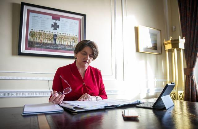 Stormont First Minister Arlene Foster in her office at Parliament Buildings in Belfast