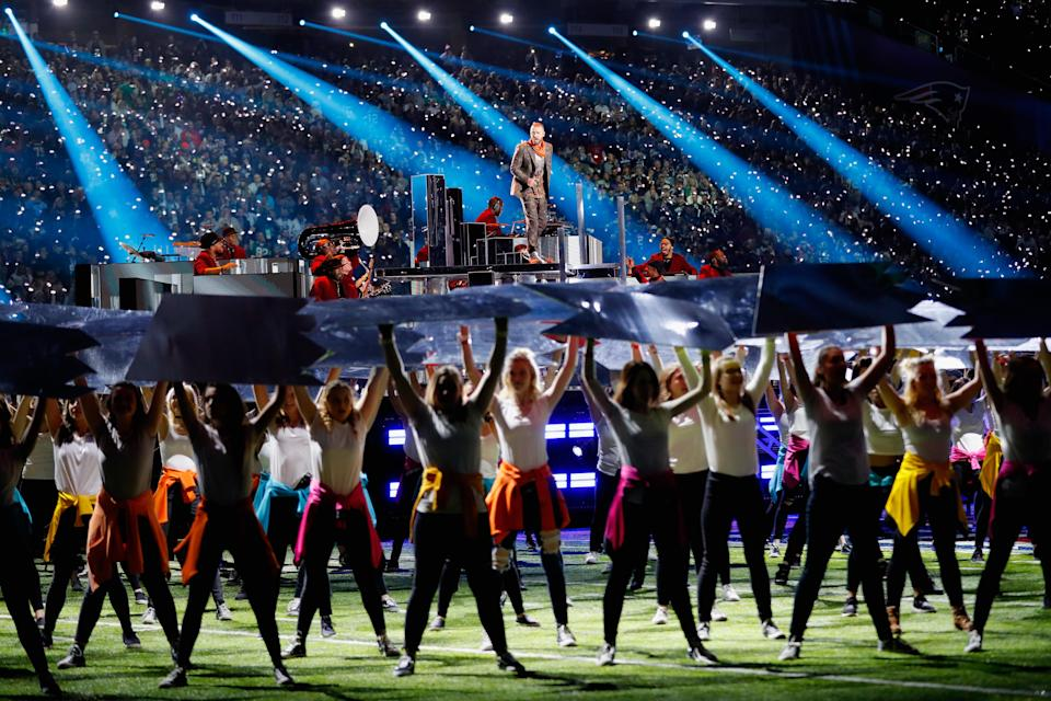 <p>Justin Timberlake performs during the Pepsi Super Bowl LII Halftime Show at U.S. Bank Stadium on February 4, 2018 in Minneapolis, Minnesota. </p>