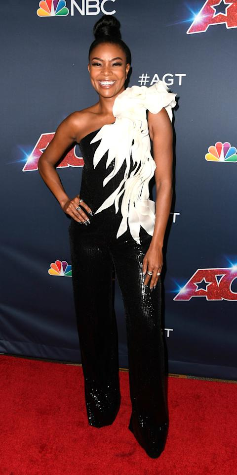 <p>Gabrielle Union filmed an episode of <em>America's Got Talent</em> in a one-shoulder look decorated with sequins and dramatic ruffles.</p>