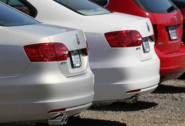 A row of brand new Volkswagen Jettas are seen on a lot at a Volkswagen dealership on March 28, 2011. (Getty)