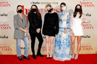 <p>Costars Alison Brie, Clea DuVall, Kristen Stewart, Mary Holland and Aubrey Plaza hit the red carpet in face masks for the socially distanced drive-in premiere of Hulu's<i> Happiest Season </i>on Tuesday in L.A. </p>