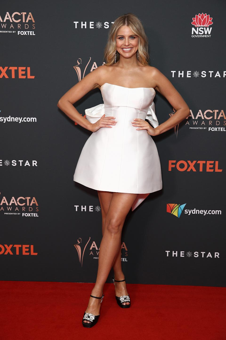 Tegan Martin arrives ahead of the 2020 AACTA Awards presented by Foxtel at The Star on November 30, 2020 in Sydney, Australia.