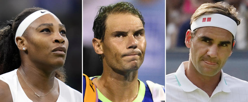 FILE This combo of 2021 file photos shows tennis players, from left, Serena Williams, Rafael Nadal and Roger Federer. The last time a Grand Slam tennis tournament was played without Serena Williams, Roger Federer and Rafael Nadal was in 1997. The U.S. Open will start next week without any of that trio after Williams, 39, withdrew on Wednesday, joining Federer, 40, and Nadal, 35, on the sideline because of injury. (AP Photo/File)