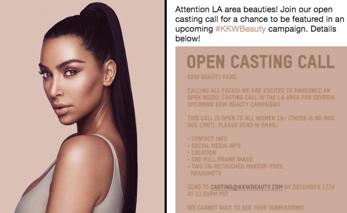 Kim K. is attempting to hire non-models for an upcoming KKW Beauty campaign but her casting call is drawing controversy. (Photo: Twitter/Kim Kardashian West)