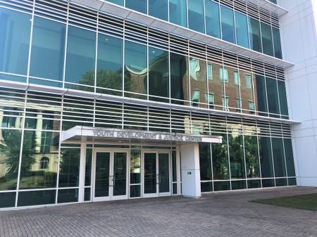 The entrance of the Youth Development & Justice Center is seen in Clayton County
