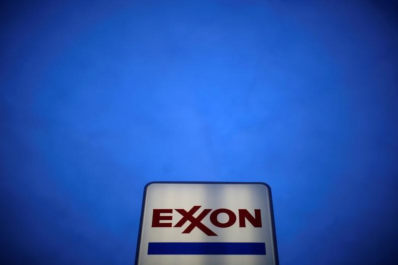 An Exxon sign is seen at a gas station in the Chicago suburb of Norridge