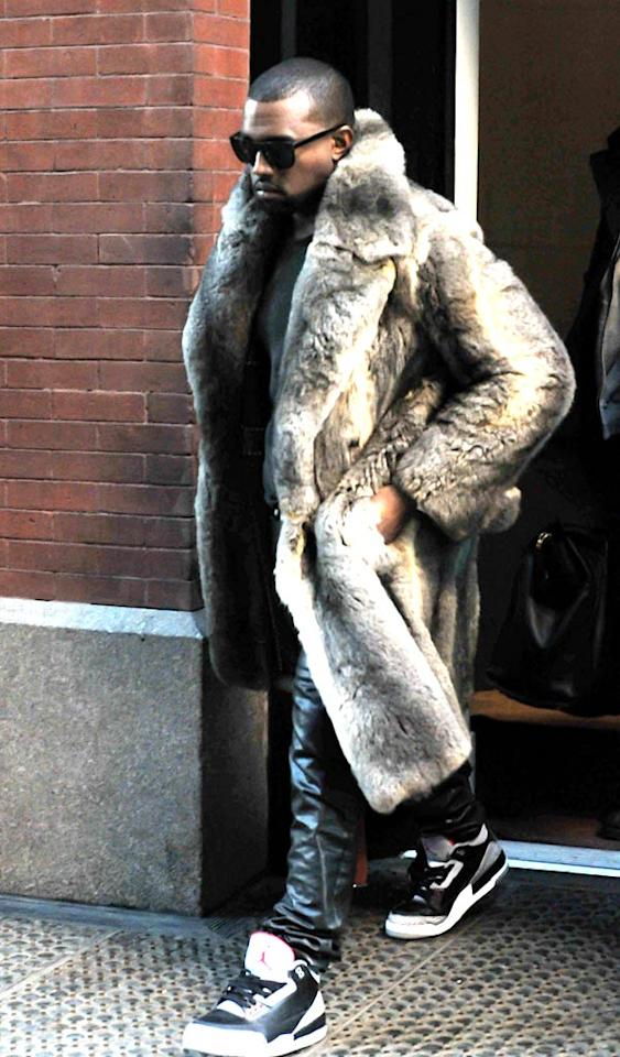 "Sorry, Kanye. Real fur isn't fashionable. Never has been, never will be. J.B Nicholas/<a href=""http://www.splashnewsonline.com"" target=""new"">Splash News</a> - January 3, 2011"