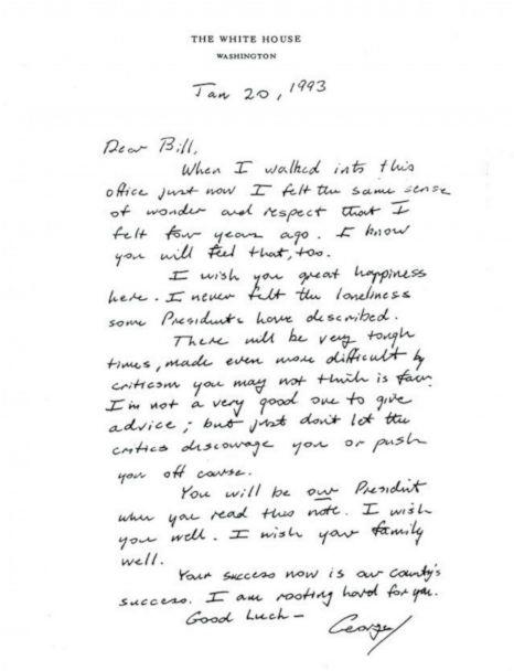 PHOTO: Outgoing President George H.W. Bush left his letter in the Oval Office for President Bill Clinton on Inauguration Day, Jan. 20, 1993. (Presidential Libraries & Museums of the National Archives and Records Administration/Twitter)