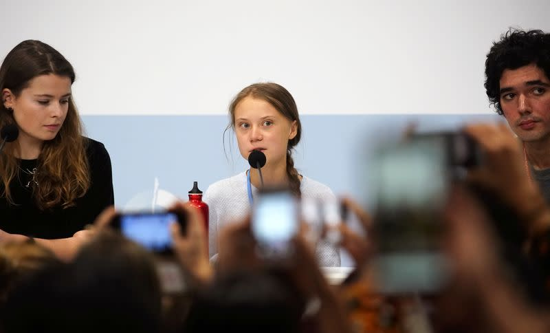 Climate change activist Greta Thunberg speaks during a news conference during COP25 climate summit in Madrid