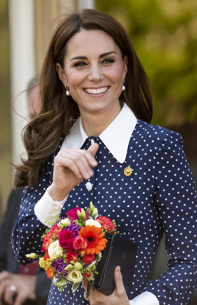 BLETCHLEY, ENGLAND - MAY 14: Catherine, Duchess of Cambridge, visits the D-Day exhibition at Bletchley Park on May 14, 2019 in Bletchley, England. The D-Day exhibition marks the 75th anniversary of the D-Day landings. (Photo by Mark Cuthbert/UK Press via Getty Images)